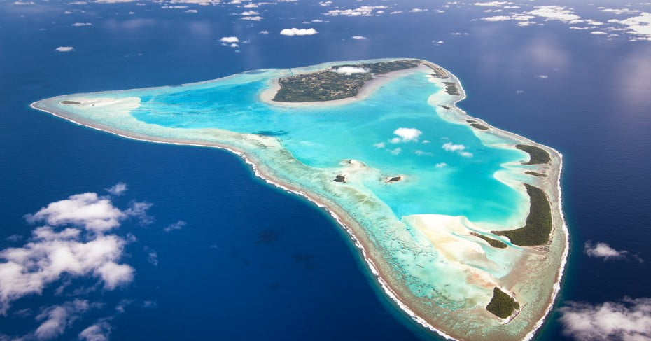 An aerial view of Aitutaki, Cook Islands, Pacific Islands.