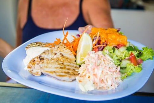 Fresh seafood and salads, The Mooring Fish Café, Cook Islands.