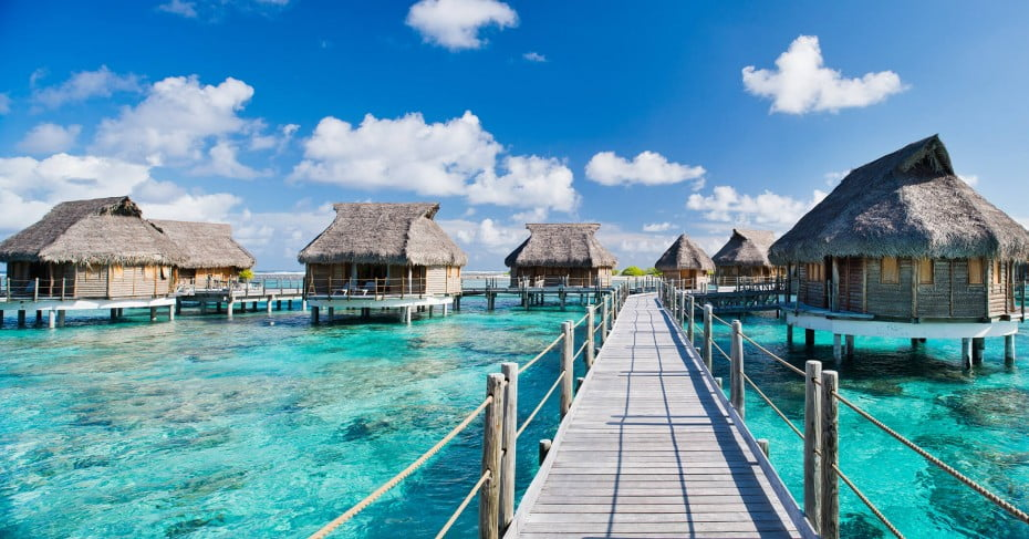 Water Bungalows Beach Resorts at Tikehaur Island, Tahiti, Pacific Island