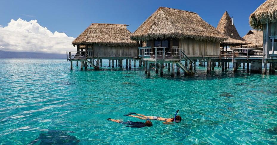 Couple snorkeling in lagoon in Tahiti