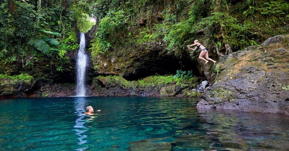 Swimming at Afa Aau waterfall, Samoa