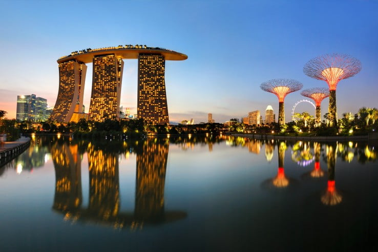 Marina Bay skyline, Singapore.