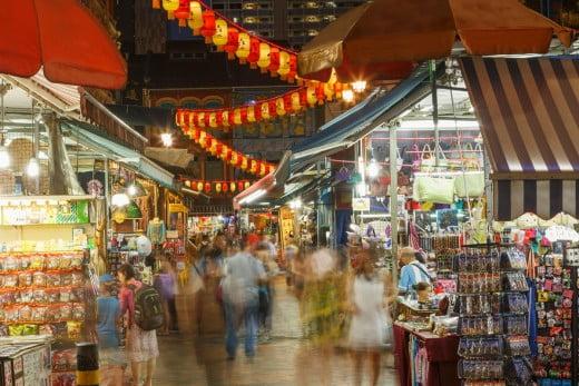 Outdoor nightmarkets, Singapore.