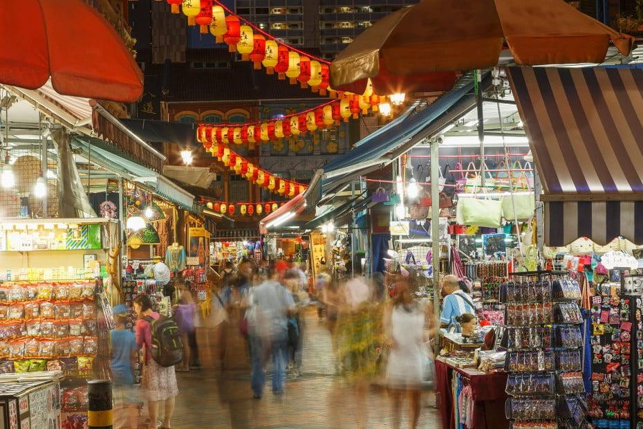 Outdoor market at night, Singapore.
