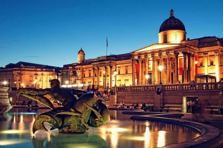 The National Gallery and Trafalgar Square, London, United Kingdom.
