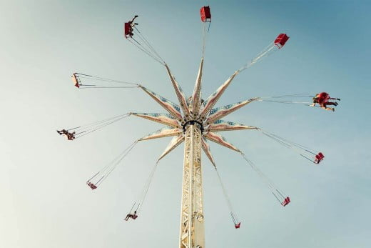 A chair swing at a theme park, Coney Island.