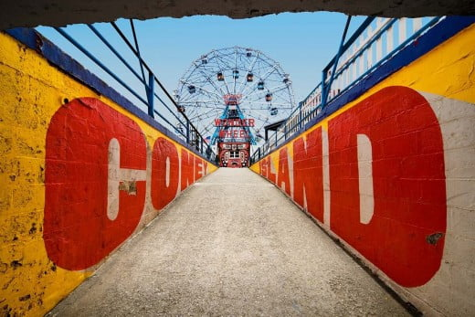 A view of a Ferris wheel at Coney Island.