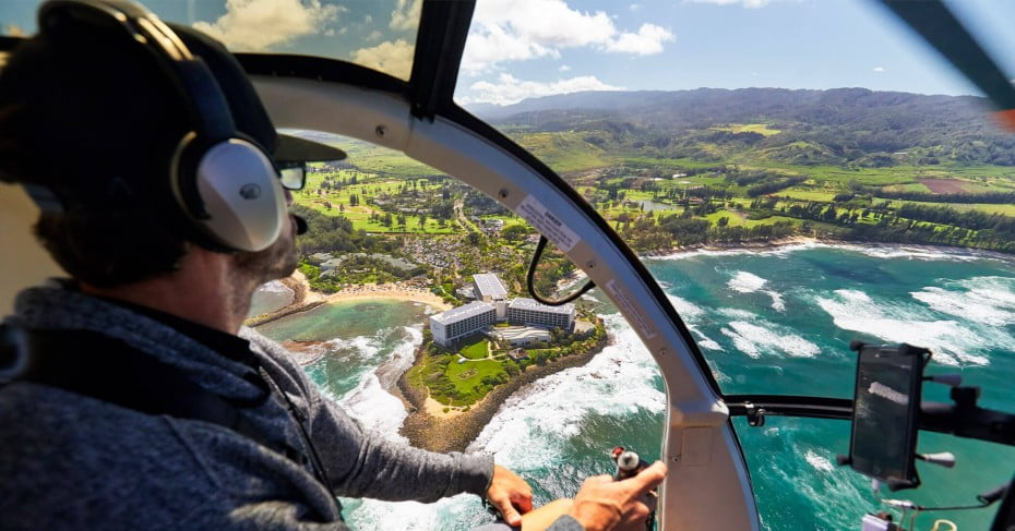 Helicopter tour of Hawaii, USA.