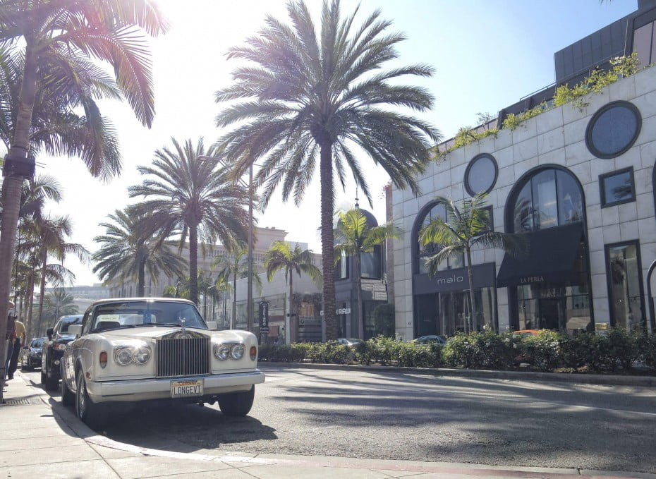 Bentley parked on Rodeo Drive, Los Angeles, California