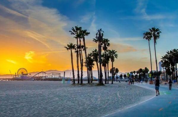 Santa Monica Sunset over Venice Beach, Los Angeles, USA.