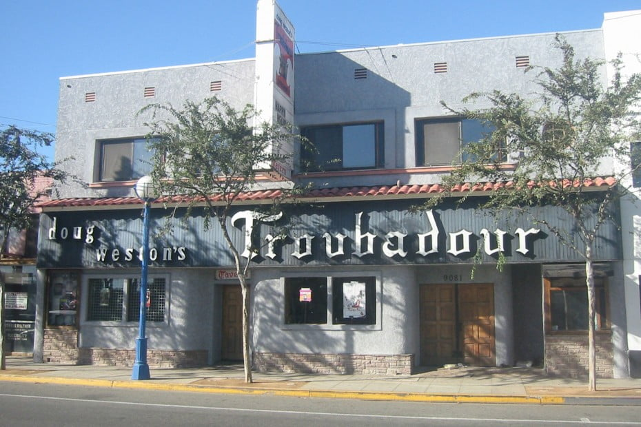 The outside of the Troubadour venue on a sunny day.