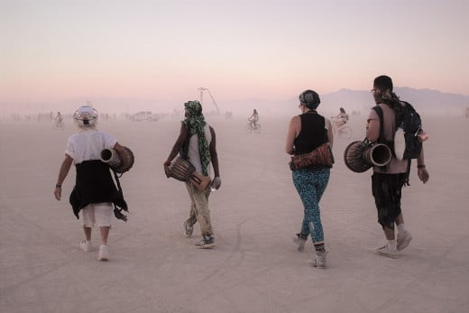 Drummers, Burning Man, Black Rock City, Nevada, United States.