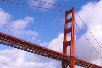 Close up of Golden Gate Bridge, San Francisco, USA.