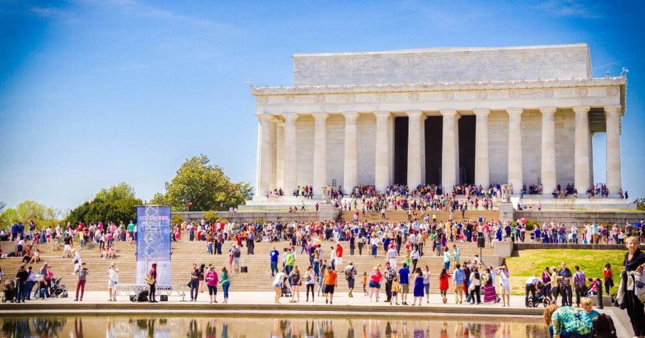 Visitors at the Lincoln Memorial, Washington, DC