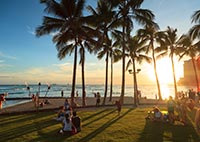 Waikiki Beach, Honolulu, Hawaii, USA.