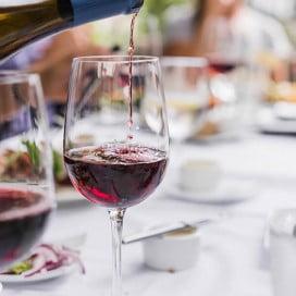 Wine glasses on table, Santa Barbara, Los Angeles, USA.