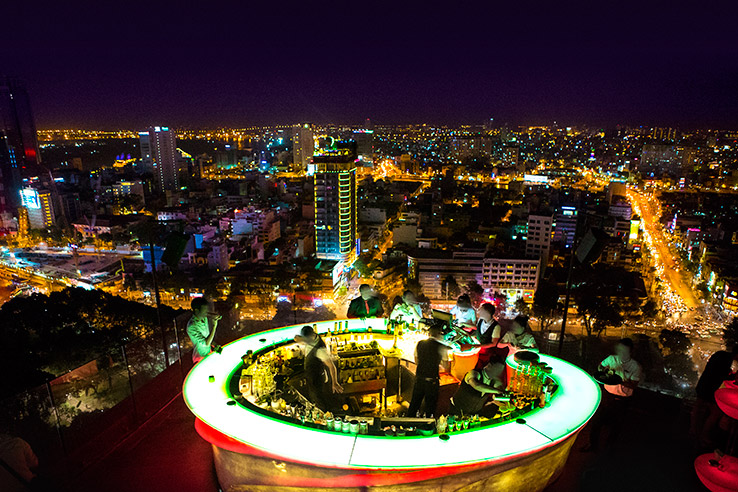 Rooftop skybar, Vietnam.