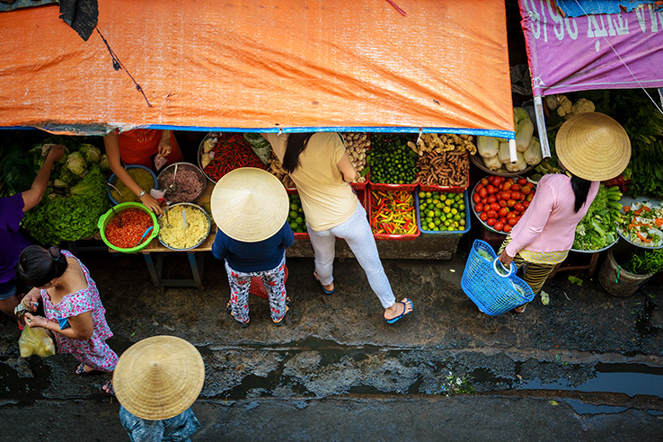 Conical hats at market, Vietnam.