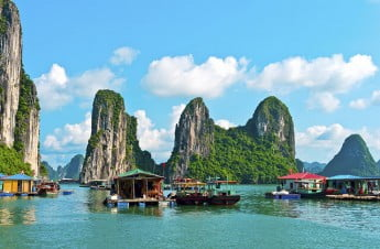 Floating village and rock islands in Halong Bay, Vietnam