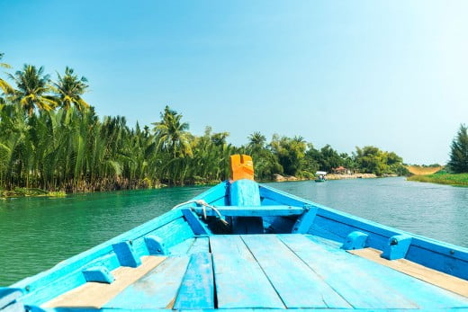 Boat trip on the Thu Bon River, Hoi An, Vietnam.