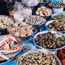 Seafood for sale at street market, Vietnam.