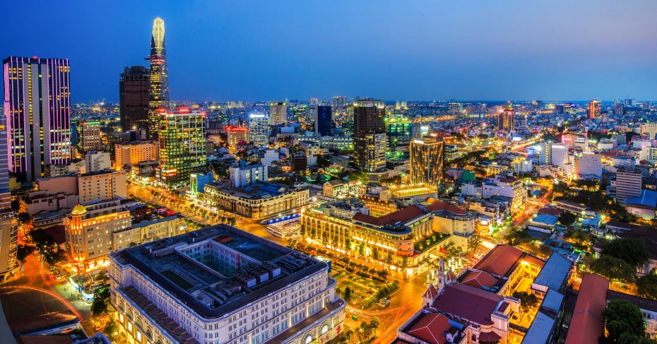 Central district at blue hour, Vietnam.
