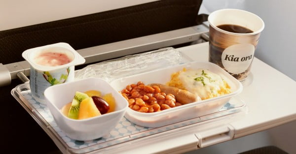 Air New Zealand Economy class breakfast.