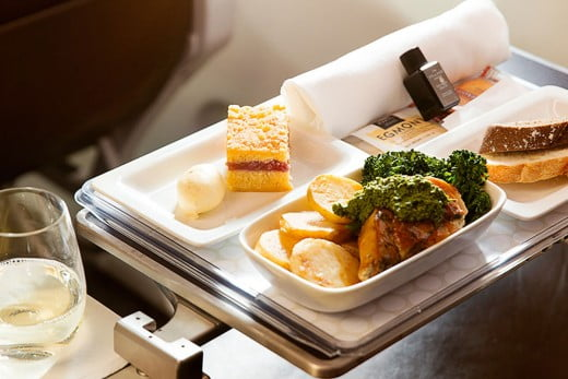 Air New Zealand Premium Economy meal.