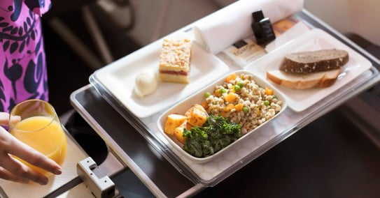 Air New Zealand Premium Economy vegetarian meal.