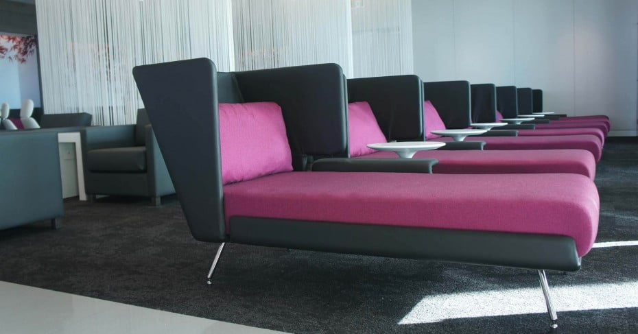Flat beds at Air New Zealand International lounge, Auckland.