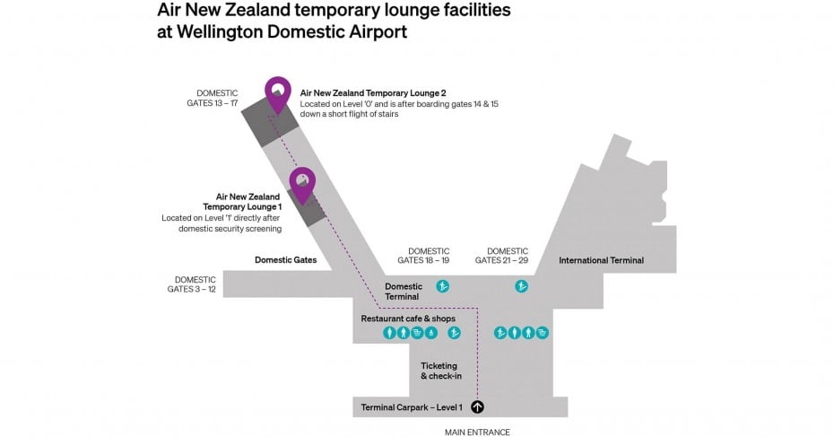 Temporary Air New Zealand Lounge at Wellington Domestic Airport.