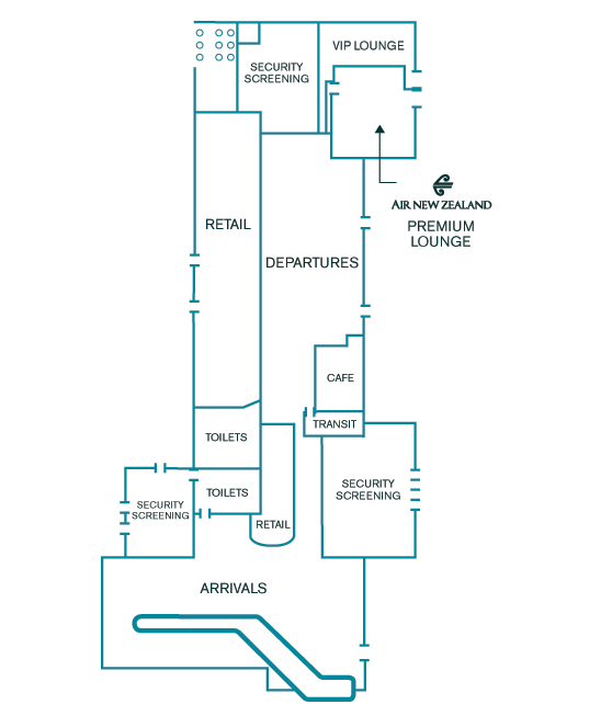 Rarotonga airport lounge map.