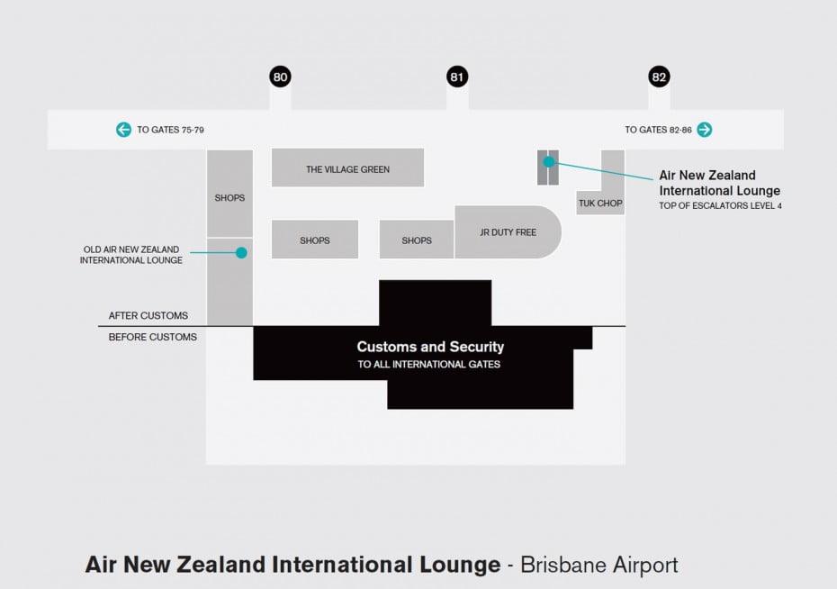 Map of Air New Zealand International Lounge at Brisbane Airport.
