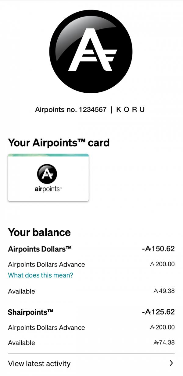 Air NZ mobile app screenshot.