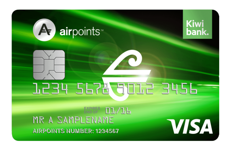 Air New Zealand Airpoints Kiwibank low fee visa card