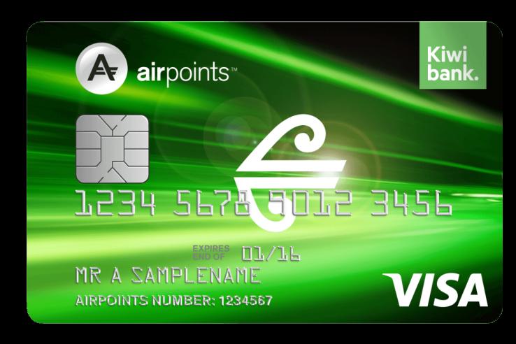 Air New Zealand Airpoints Kiwibank low fee visa card