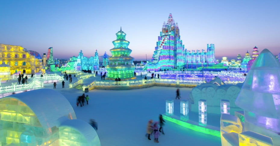 People at the Harbin ice festival in China