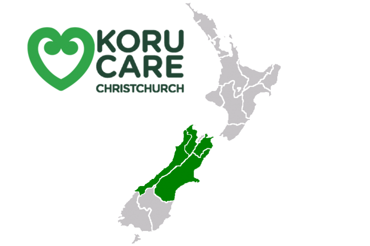 Koru Care Christchurch branch - logo and map