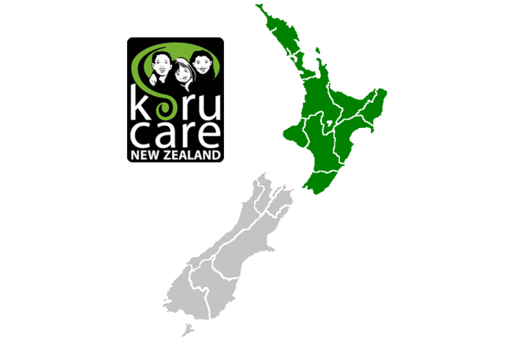 Koru care North Island branch - logo and map
