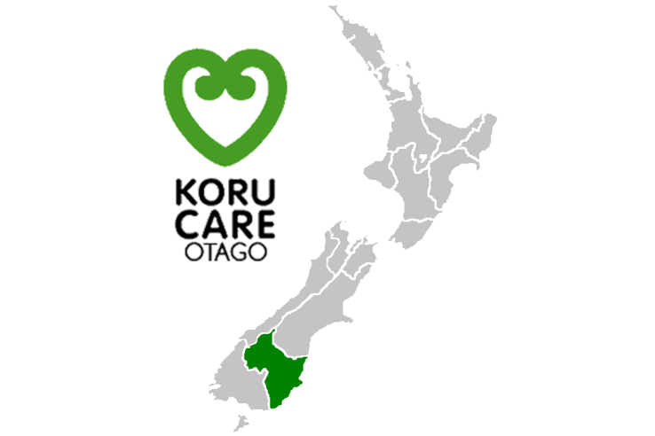 Koru care Otago branch - logo and map