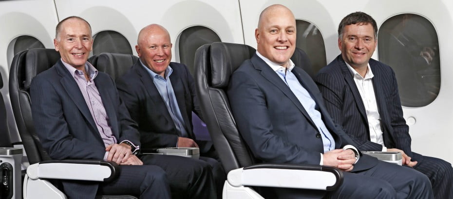 (Left to right) Z CEO Mike Bennetts Mercury CEO Fraser Whineray Air New Zealand CEO Christopher Luxon and Foodstuffs North Island CEO Chris Quin