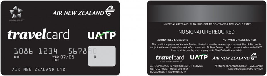 Front and back view of Air New Zealand Travelcard.