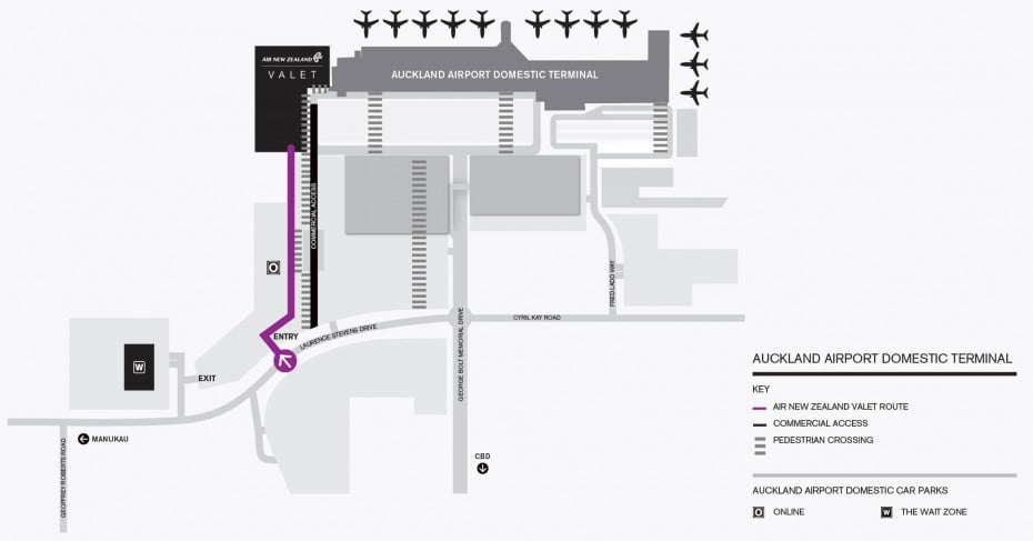 Auckland domestic valet parking map.