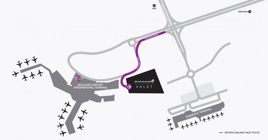 Auckland international valet parking map.
