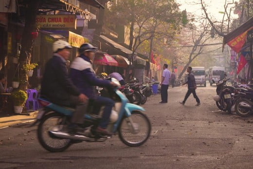 Scootering in Vietnam.
