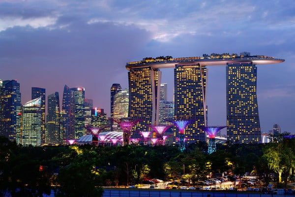 Marina Bay, Night skyline, Singapore