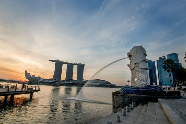 Merlion with Singapore skyline in the background, Singapore