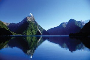 Mitre Peak at Fiordland, New Zealand