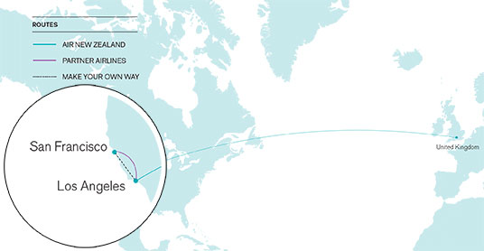 UK to California open-jaw route map