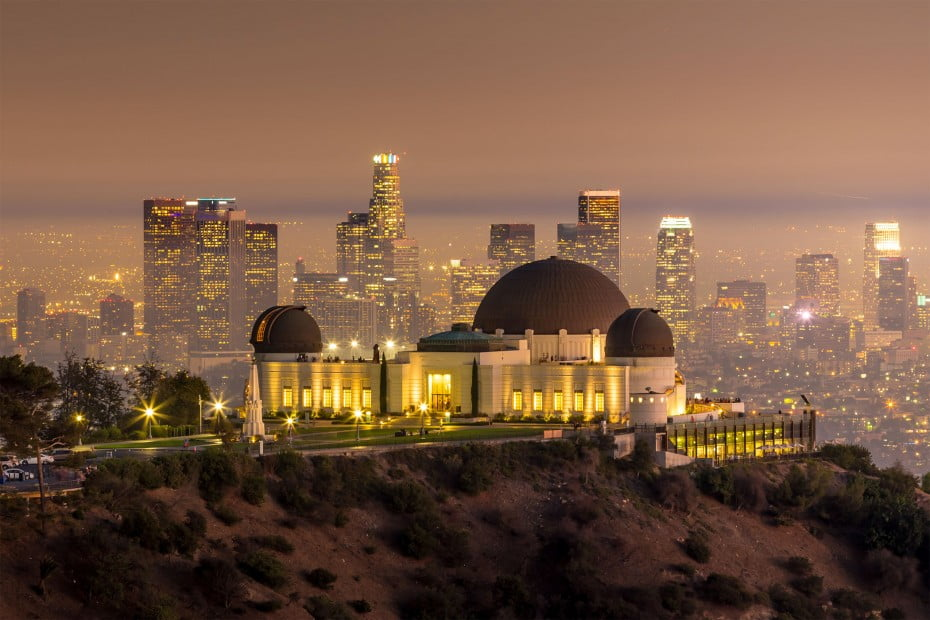 The Griffith Observatory and the Los Angeles skyline.
